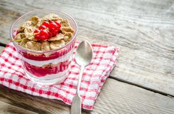 Wholegrain muesli with berry sauce and yogurt Royalty Free Stock Image