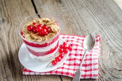 Wholegrain muesli with berry sauce and yogurt Royalty Free Stock Photos
