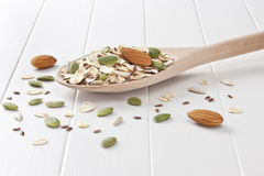 Wholegrain Muesli Spoon Background Royalty Free Stock Image