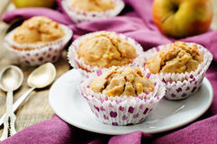 Wholegrain muffins with apples Stock Photos