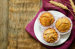 Wholegrain muffins with apples Stock Photo