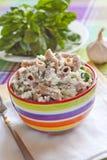 Wholegrain pasta med keso och spenat Fotografering för Bildbyråer