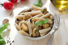 Wholegrain pasta with mussels Royalty Free Stock Image