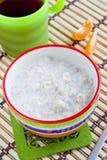 Wholegrain porridge with milk Royalty Free Stock Images