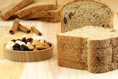 Wholegrain raisins and assorted nuts bread Stock Image