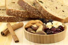 Wholegrain raisins and assorted nuts bread Royalty Free Stock Photos