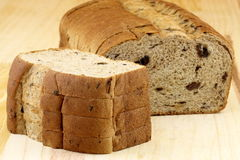 Wholegrain raisins and nuts bread Stock Photography