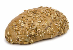 Wholegrain roll. Close-up of wholegrain roll on white background Stock Photo