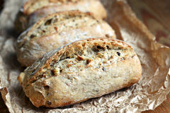 Wholegrain rolls. Close up of healthy wholegrain crispy bread Stock Images