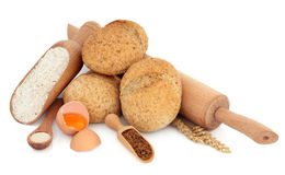 Wholegrain Rolls with Ingredients Stock Photos