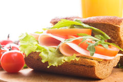 Wholegrain sandwich Royalty Free Stock Photography