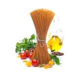 Wholegrain Spaghetti, Cherry Tomatoes, Olive Oil And Fresh Herbs Royalty Free Stock Image