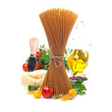 Wholegrain spaghetti, cherry tomatoes, olive oil and parmesan Royalty Free Stock Image