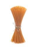 Wholegrain spaghetti, isolated Stock Images