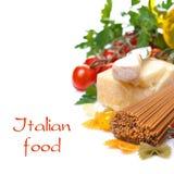 Wholegrain spaghetti, parmesan cheese, cherry tomatoes Stock Photography
