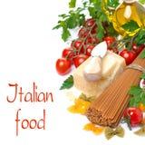 Wholegrain spaghetti, parmesan, cherry tomatoes, fresh herbs Royalty Free Stock Image