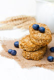 Wholegrain  wheat  bisks with milk and blueberry Stock Images