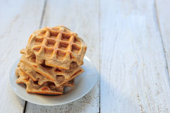 Wholegrain wheat and oat waffles Royalty Free Stock Image