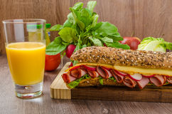 Wholemeal baguette with smoked rump Royalty Free Stock Photography