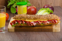 Wholemeal baguette with smoked rump Stock Photo