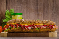 Wholemeal baguette with smoked rump Stock Image