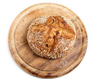 Wholemeal Bread. Loaf of wholemeal bread on plate Stock Images
