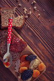 Wholemeal bread with apricot jam Stock Image