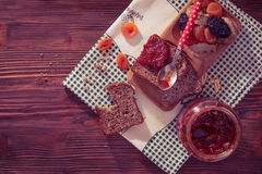 Wholemeal bread with apricot jam Royalty Free Stock Image