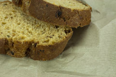Wholemeal bread on brown paper Stock Image