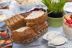 Wholemeal bread. In a festive table setting Stock Photo