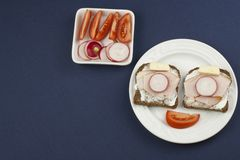 Wholemeal bread with ham and radish, healthy diet Stock Photo