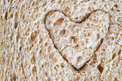 Wholemeal Bread Heart Cutout Stock Photos