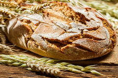 Wholemeal bread on old wooden table Royalty Free Stock Photo