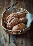 Wholemeal bread rolls in a basket Royalty Free Stock Photography