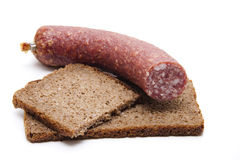 Wholemeal bread with salami Royalty Free Stock Image