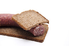 Wholemeal bread with salami Stock Photos