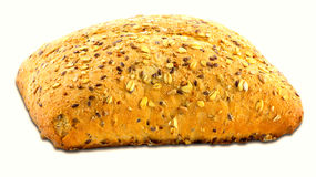 Wholemeal bread with sesame seeds isolated on white Royalty Free Stock Photos