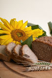 Wholemeal bread with sunflower. Brown bread with sunflower. Cooking Royalty Free Stock Images