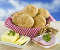 Wholemeal buns. Continental breakfast of wholemeal buns, butter and ham Stock Images