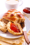 Wholemeal buns with marmalade Stock Image