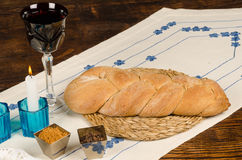 Wholemeal challah tipical of shabat Stock Photo