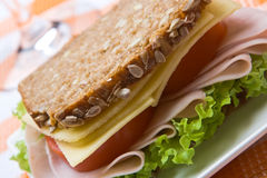 Wholemeal cheese and ham sandwich Royalty Free Stock Images