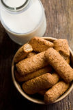 Wholemeal cookies with milk Stock Photography
