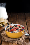 Wholemeal Cornflakes with fresh Fruits Stock Photography