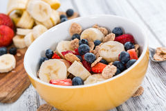Wholemeal Cornflakes with fresh Fruits Royalty Free Stock Photo