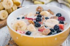 Wholemeal Cornflakes with fresh Fruits Stock Photo