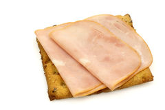 Wholemeal cracker with ham Royalty Free Stock Image