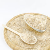 Wholemeal flour on wooden board. Healthy vegetarian food. Royalty Free Stock Images