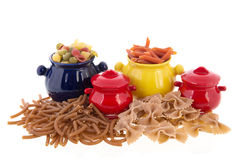 Wholemeal pasta assortment Stock Photo