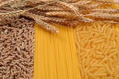 Wholemeal pasta fusilli from organic grain, spaghetti and fusill Royalty Free Stock Images